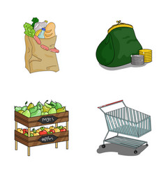 Sausages fruit cart supermarket set collection vector