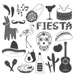Mexico party icons set vector