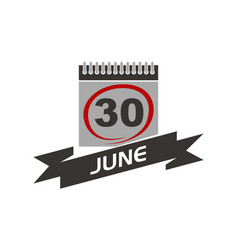 30 june calendar with ribbon vector