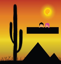 Pyramids in the desert and kids vector