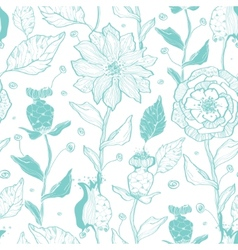 Aqua lineart flowers seamless pattern vector