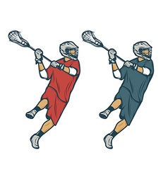 Lacrosse player in shooting pose isolated vector