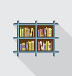 Flat design bookshelf on wall vector
