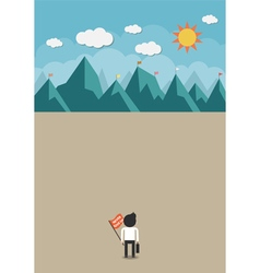 The man will climb up to top of the mountain vector image