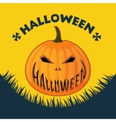Halloween poster on a yellow background vector