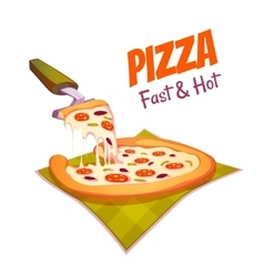 Hot pizza on the cloth vector