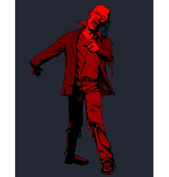 Cartoon red walking zombie vector