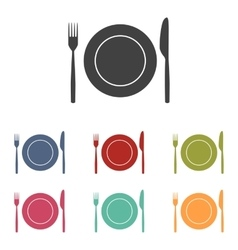 Fork and knife icons set vector
