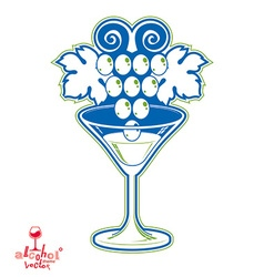 Winery fantasy elegant martini glass with vector
