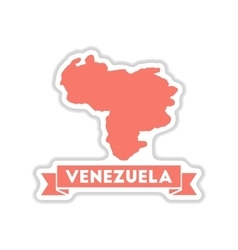 paper sticker on white background map of Venezuela vector image