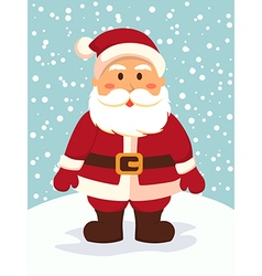 Santa standing in snowy day vector