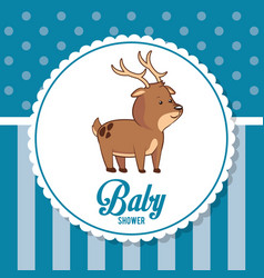 Baby shower card invitation cute deer vector