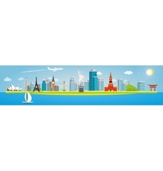 Banner on the topic of traveling around the world vector