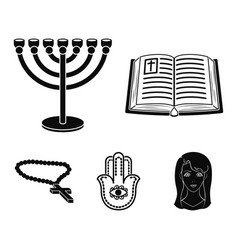 Bible menorah hamsa orthodox crossreligion set vector