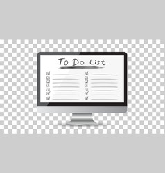 Businessman to do list checklist with computer vector
