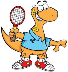 Cartoon brontosaurus playing tennis vector image vector image