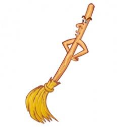 cartoon broom vector image vector image