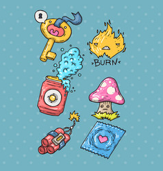 Cartoon sticker set in 80s 90s comic trendy styl vector