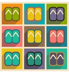 Collection icons of japanese slippers vector