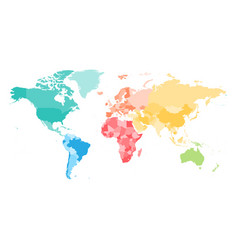 colorful political map of world divided into six vector image
