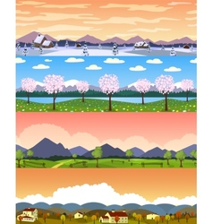 Four seasons landscape cartoon seamless vector image vector image