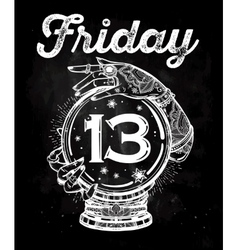Friday 13 numerals in a Crystal Ball vector image