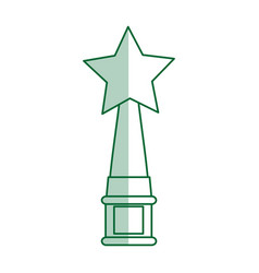 Green silhouette shading trophy with symbol star vector