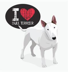 i love bull terrier vector image