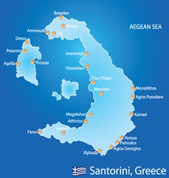 Island of Santorini in Greece map vector image