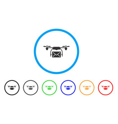 mail delivery drone rounded icon vector image
