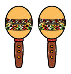 Mexican maracas isolated icon vector