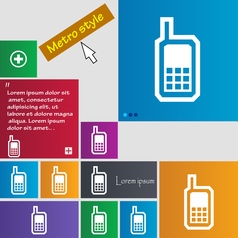 Mobile phone icon sign buttons Modern interface vector image
