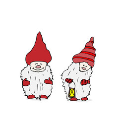 Outline set of trolls gnomes with beards and long vector