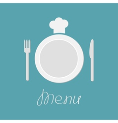 Plate fork knife and chefs hat menu card flat vector