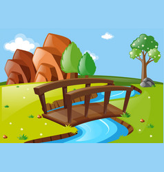 scene with bridge in the park vector image