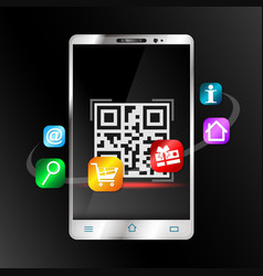 Smartphone scans barcode for purchase vector