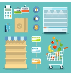Supermarket food shopping internet concept vector