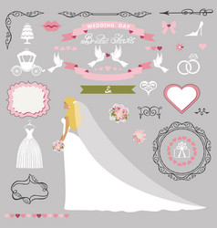 Wedding bridal shower decor setbride invitation vector