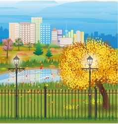 Landscape of autumn city park cityscape vector