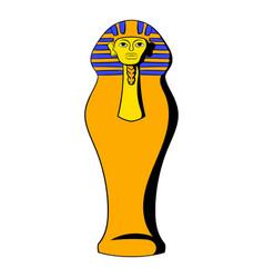 egyptian pharaoh sarcophagus icon cartoon vector image