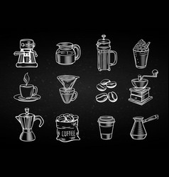 hand drawn decorative coffee icons set vector image