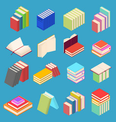 Stack of color books set isometric view vector