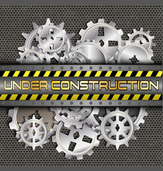 Under construction with gears and pinions vector