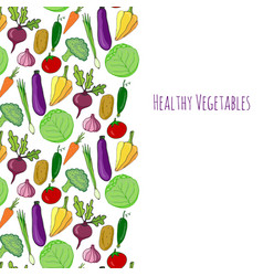 Vegetable hand drawn background isolated vector