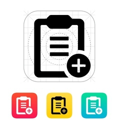 Plus clipboard icon vector