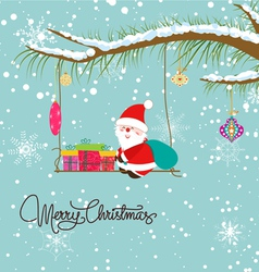 Merry christmas card with santaclaus and gift vector