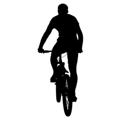 Silhouette of a cyclist male vector