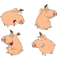 Set of cheerful pigs cartoon vector