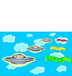 Ufo parade on blue sky vector
