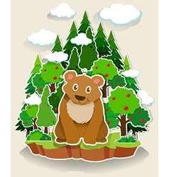 Brown bear sitting in the forest vector image